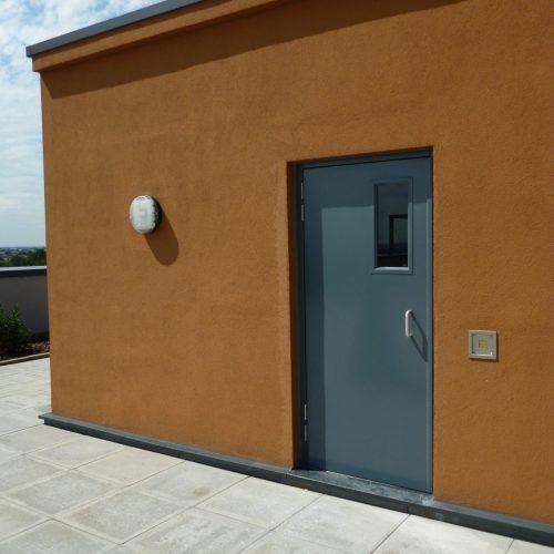 Glazed roof door